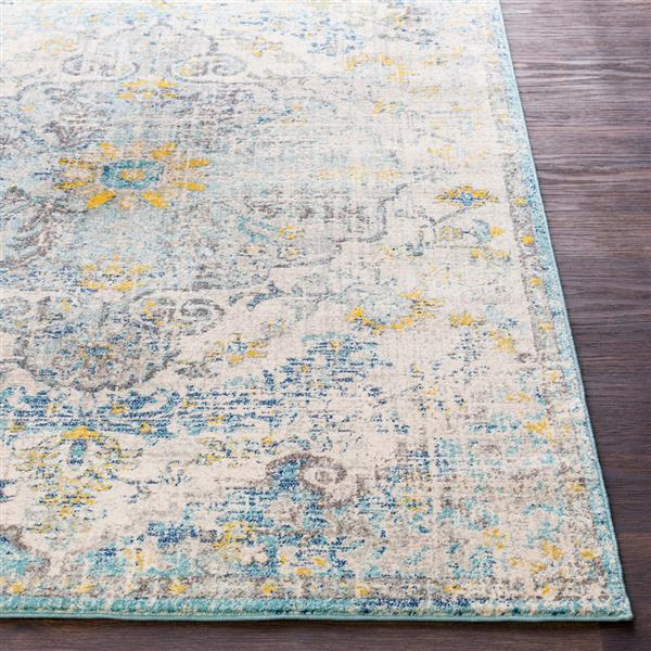 Surya Harput Updated Traditional Area Rug - 5-ft 3-in x 7-ft 3-in - Rectangular - Teal/Yellow