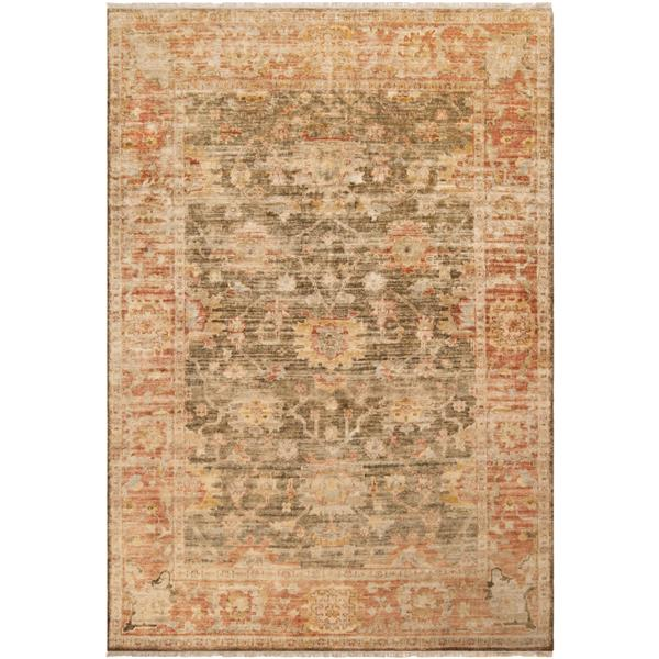 Surya Hillcrest Traditional Area Rug - 7-ft 9-in x 9-ft 9-in - Rectangular - Burgundy