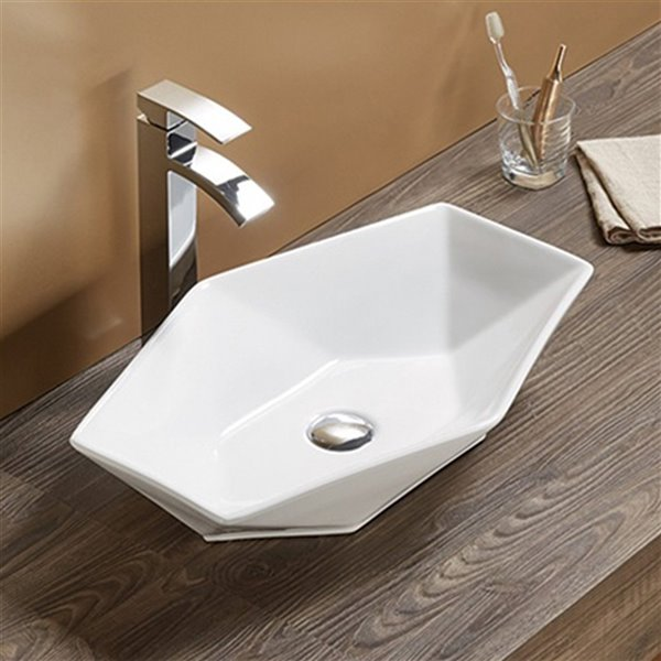American Imaginations Vessel Bathroom Sink - Oval Shape - 22.24-in x 14.8-in - White
