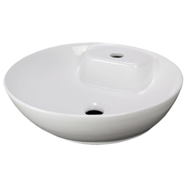 American Imaginations Vessel Bathroom Sink - Round Shape - 16.9-in x 16.9-in - White
