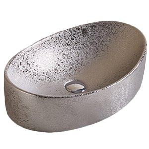 American Imaginations Vessel Bathroom Sink - Oval Shape - 20.47-in x 13.19-in - Silver