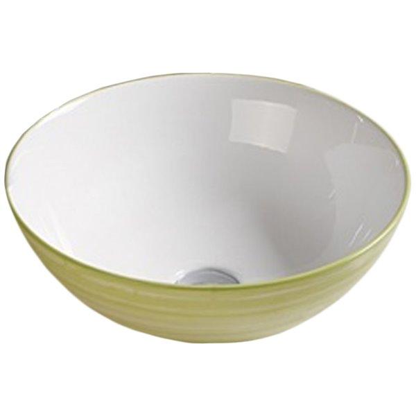 American Imaginations Vessel Bathroom Sink - Round Shape - 16.34-in x 16.34-in - Light Green