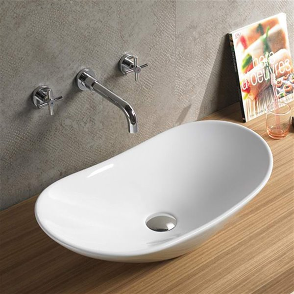 American Imaginations Vessel Bathroom Sink - Oval Shape - 24.2-in - White