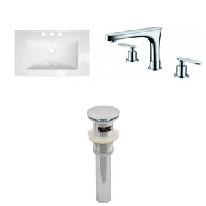 American Imaginations Roxy Modern Bathroom Vanity Top Set - Single Sink - 24.25-in - White Ceramic