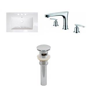 Ensemble lavabo Roxy d'American Imaginations, robinet et drain, 24,25 po x 18,25 po, céramique blanche