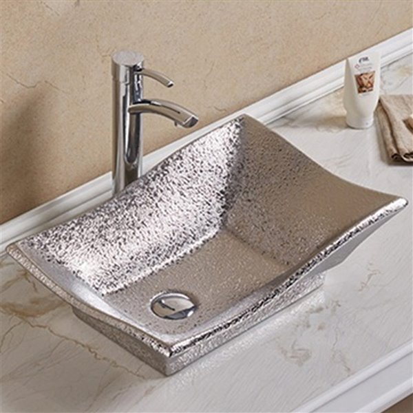 American Imaginations Vessel Bathroom Sink - Rectangular Shape - 20.08-in x 14.17-in - Silver