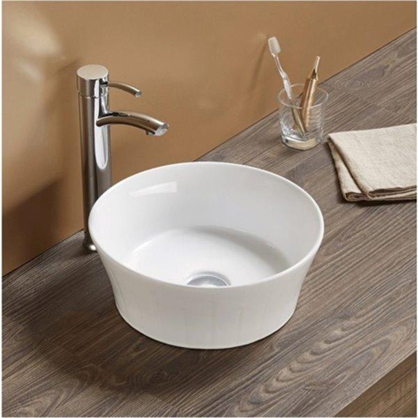American Imaginations Round Vessel Bathroom Sink - 14.09-in - White