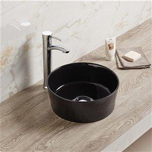Lavabo-vasque rond d'American Imaginations, 14,09 po x 14,09 po, noir