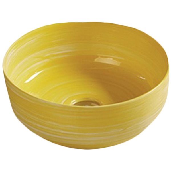 American Imaginations Round Bathroom Sink - 14.09-in x 14.09-in - Yellow