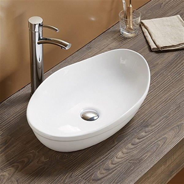 American Imaginations Vessel Bathroom Sink - Oval Shape - 20.5-in - White