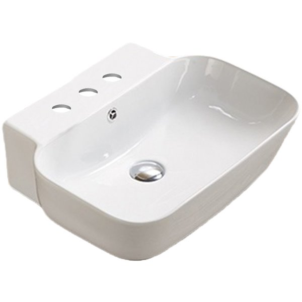 American Imaginations Rectangular Wall-Mount Bathroom Sink - 20-in x 16.14-in - White