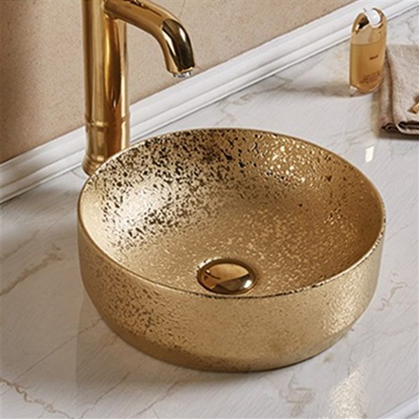American Imaginations Vessel Bathroom Sink - Round Shape - 13.98-in x 13.98-in - Gold