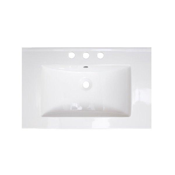 Ensemble lavabo simple Roxy d'American Imaginations, robinet et drain chromés, 24,25 po, blanc