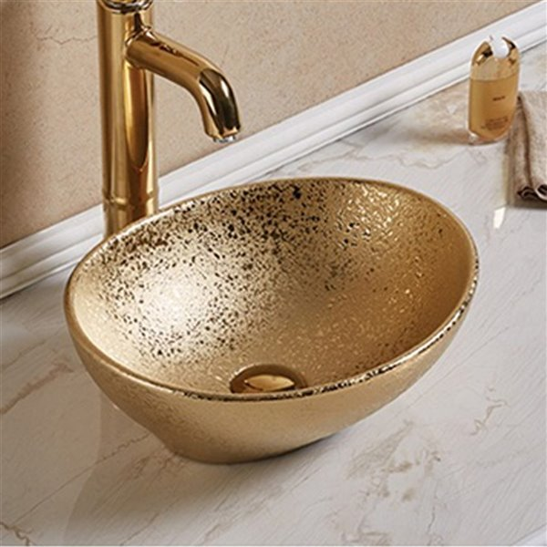 American Imaginations Vessel Bathroom Sink - Oval Shape - 15.94-in - Gold