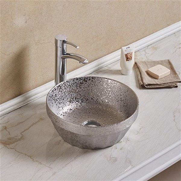 American Imaginations Round Bathroom Sink - Silver