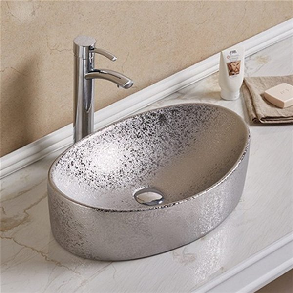 Lavabo d'American Imaginations, forme ovale, 20,47 po x 13,19 po, argent