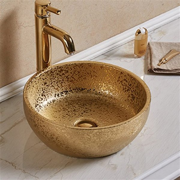 Lavabo rond d'American Imaginations, 16,14 po, or