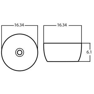 Lavabo-vasque d'American Imaginations, sans trop-plein, 14,09 po, noir