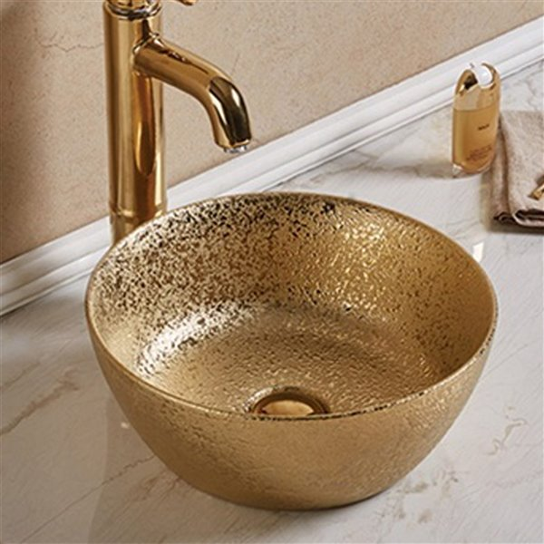 American Imaginations Bathroom Sink - Round Shape - 14.09-in - Gold