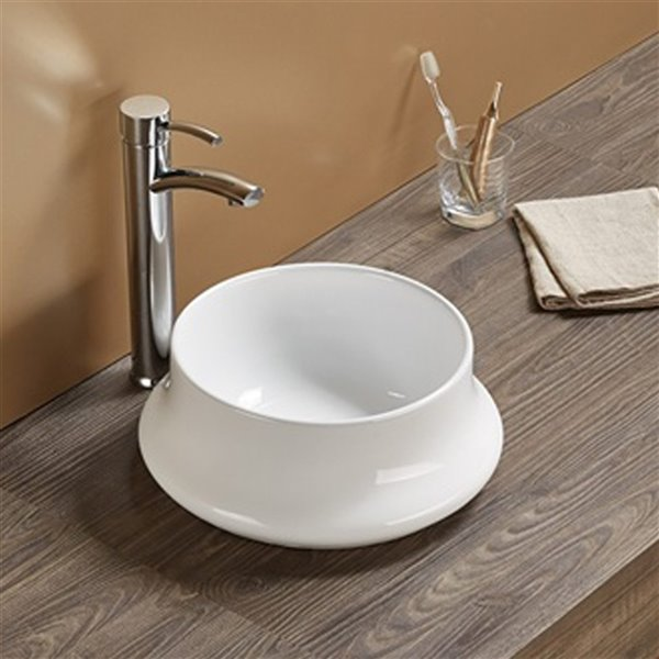 American Imaginations Vessel Bathroom Sink - Round Shape - 14.17-in - White