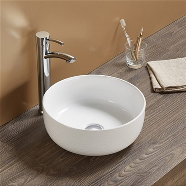 American Imaginations Bathroom Sink - Round Shape - 14.09-in x 14.09-in - White