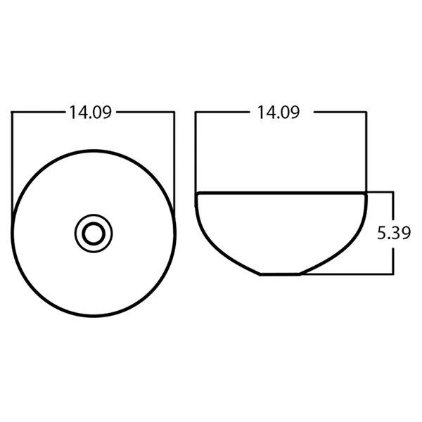 Lavabo-vasque d'American Imaginations, forme ronde, 16,34 po x 16,34 po, bronze