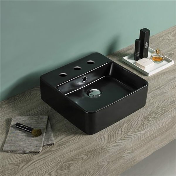 American Imaginations Square Vessel Bathroom Sink - 16-in x 16-in - Black