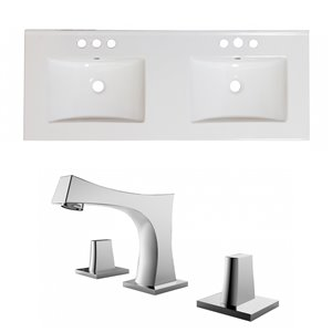 American Imaginations Xena Bathroom Vanity Top Set - Double Sink with 3-Hole Faucet - 59-in - White Ceramic