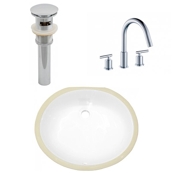 American Imaginations Undermount Bathroom Sink - Oval Shape - 16.5-in - White