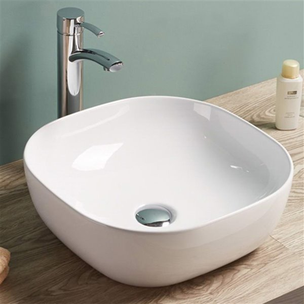 American Imaginations Square Vessel Bathroom Sink - 16.3-in x 16.3-in - White