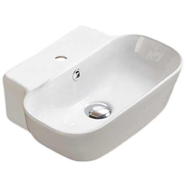 American Imaginations Vessel Bathroom Sink - Rectangular Shape - 16.34-in - White