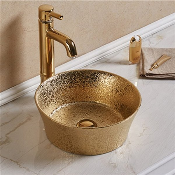 Lavabo rond d'American Imaginations, 14,09 po, or