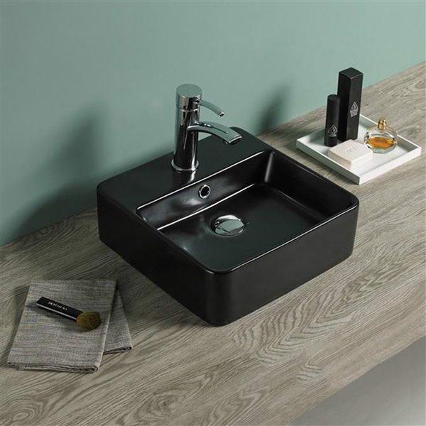 American Imaginations Vessel Bathroom Sink - Square Shape - 16-in - Black
