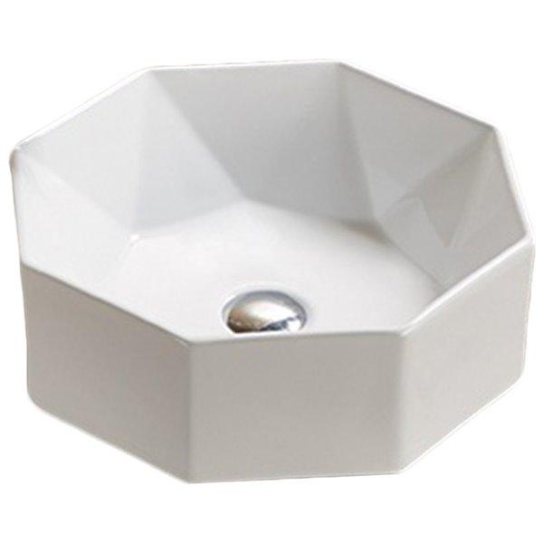 Lavabo d'American Imaginations, forme ronde, 15,35 po x 15,35 po, blanc