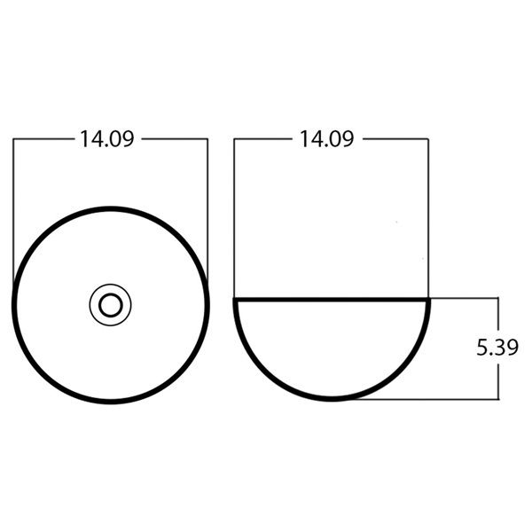 American Imaginations Vessel Bathroom Sink - Round Shape - 14.09-in - Brown/White