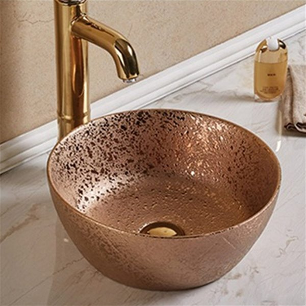 American Imaginations Bathroom Sink - 14.09-in x 14.09-in - Bronze