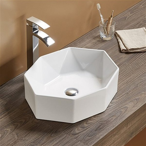 Lavabo d'American Imaginations, forme ovale, 19,7 po x 14,13 po, blanc