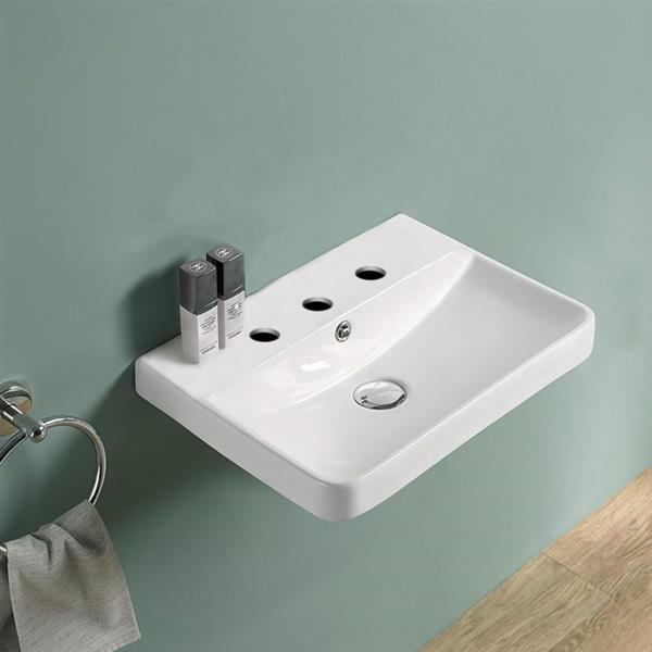 American Imaginations Vessel Bathroom Sink - Rectangular Shape - 15.82-in x 13.97-in - White