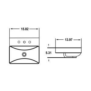 Lavabo-vasque d'American Imaginations, trop-plein intégré, 15,82 po x 13,97 po, blanc