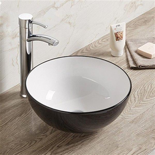 American Imaginations Vessel Bathroom Sink - Round Shape - Black