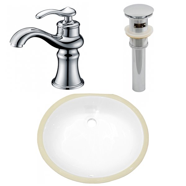 American Imaginations Oval Undermount Bathroom Sink with Overflow Drain - 16.5-in x 13.25-in - White