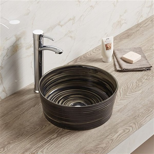 American Imaginations Round Bathroom Sink without Overflow - 14.09-in - Black