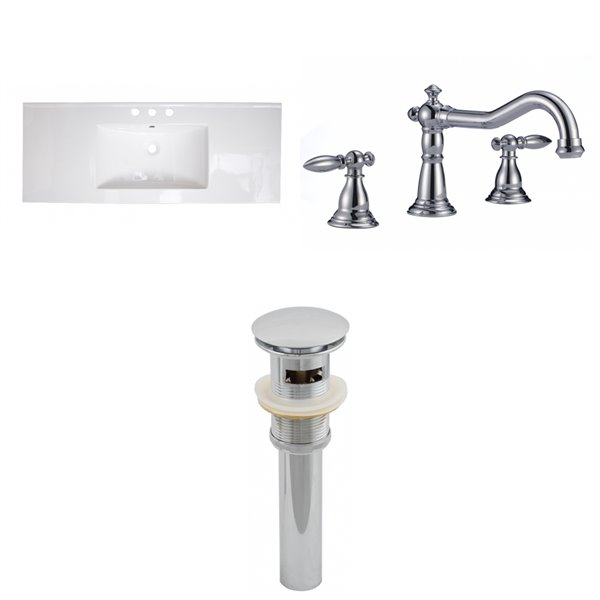 American Imaginations Roxy Bathroom Vanity Top Set with Contemporary Faucet - Single Sink - 48-in - White Ceramic