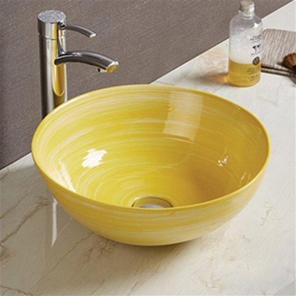 American Imaginations Vessel Bathroom Sink - 14.09-in x 14.09-in - Yellow