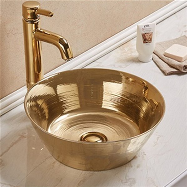 American Imaginations Round Vessel Bathroom Sink - 15.94-in - Gold