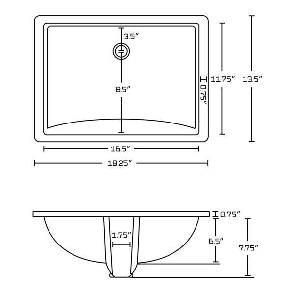 American Imaginations Undermount Bathroom Sink - Rectangular Shape - 18.25-in x 13.5-in - White