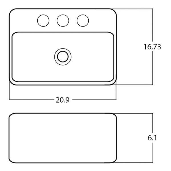 American Imaginations Vessel Bathroom Sink - Rectangular Shape - 20.9-in - White