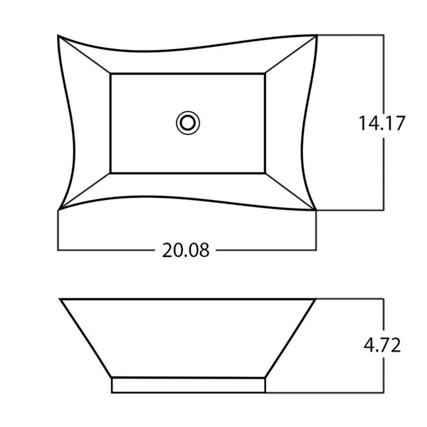 American Imaginations Vessel Bathroom Sink - Rectangular Shape - 20.08-in x 14.17-in - Gold
