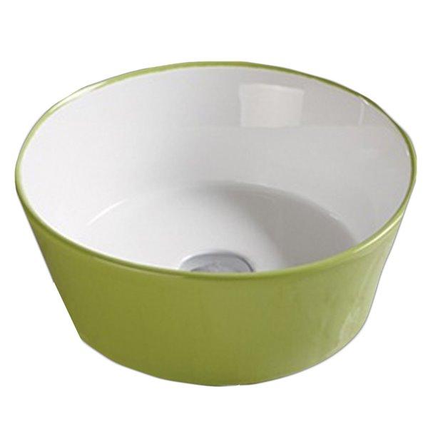 Lavabo-vasque d'American Imaginations, forme ronde, 14,09 po, vert et blanc