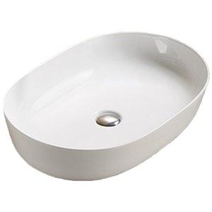Lavabo-vasque d'American Imaginations, forme ovale, 23,62 po x 16,34 po, blanc